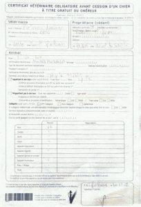 Certificat vétérinaire